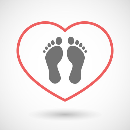 healthy people: Illustration of a line hearth icon with two footprints