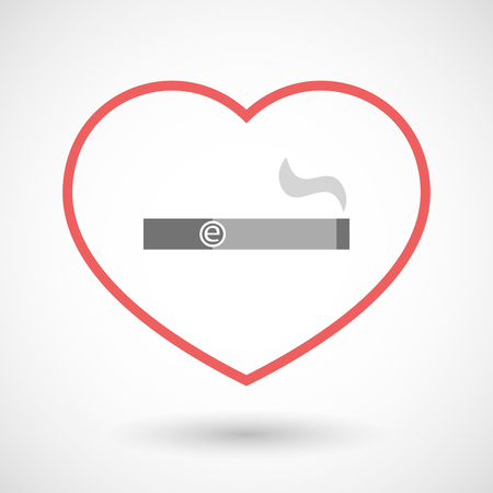 e cigarette: Illustration of a line hearth icon with an electronic cigarette