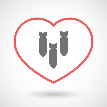 love detonate: Illustration of a line hearth icon with three bombs falling Illustration