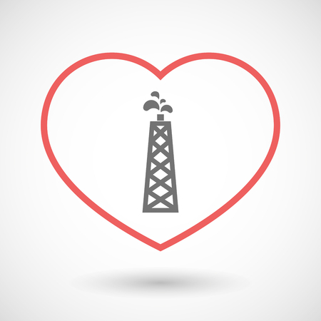 seduce: Illustration of a line hearth icon with an oil tower