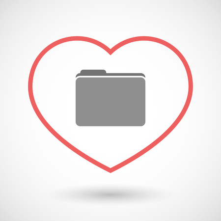 office romance: Illustration of a line hearth icon with a folder