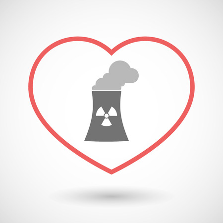 nuclear power station: Illustration of a line hearth icon with a nuclear power station