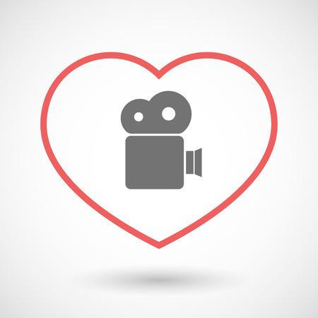 hearth: Illustration of a line hearth icon with a film camera