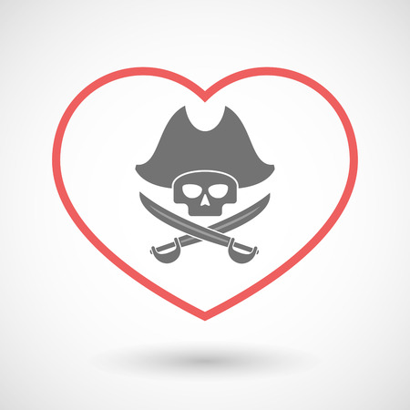 sword and heart: Illustration of a line hearth icon with a pirate skull