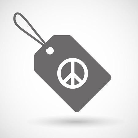 peace label: Illustration of a shopping label icon with a peace sign