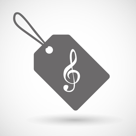 g string: Illustration of a shopping label icon with a g clef