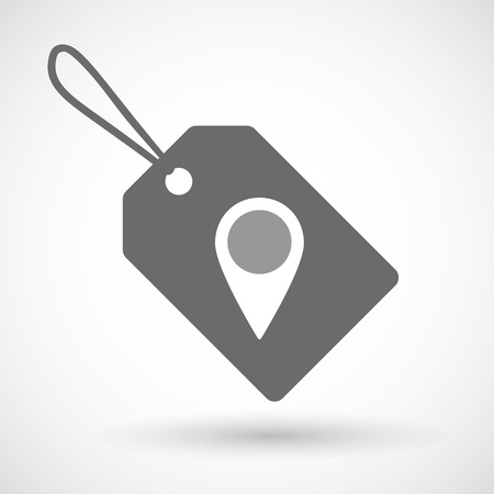 selling points: Illustration of a shopping label icon with a map mark