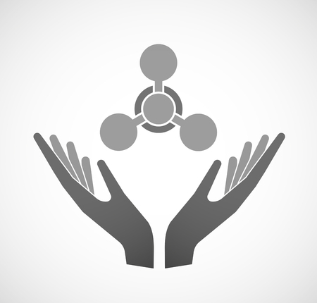 chemical weapon sign: Illustration of two hands offering a chemical weapon sign