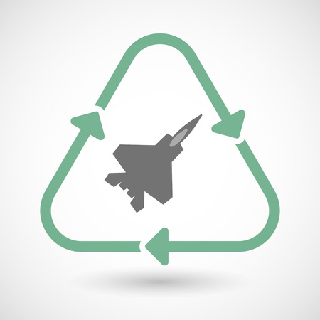 combat: illustration of a line art recycle sign icon with a combat plane