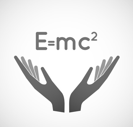 relativity: Illustration of two hands offering the Theory of Relativity formula