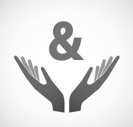 ampersand: Illustration of two hands offering an ampersand Illustration