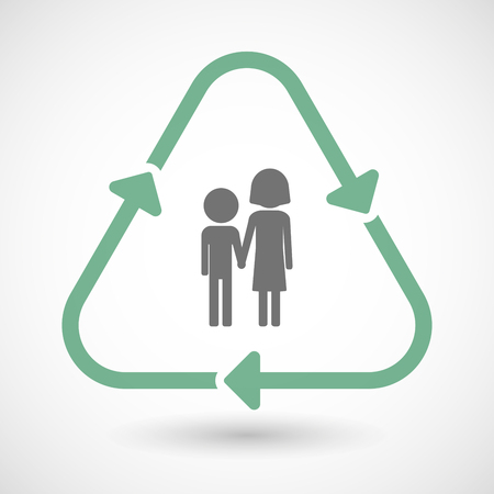 orphan: illustration of a line art recycle sign icon with a childhood pictogram