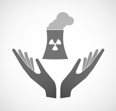 Illustration of two hands offering a nuclear power station