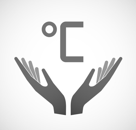 ease: Illustration of two hands offering a celsius degree sign