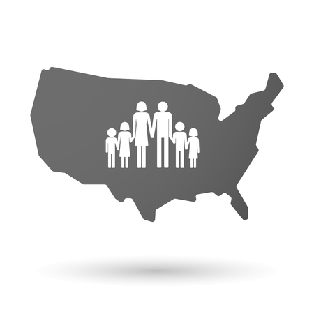 large family: illustration of an isolated USA map icon with a large family pictogram