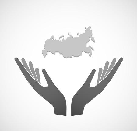 sustain: Illustration of two hands offering a map of Russia