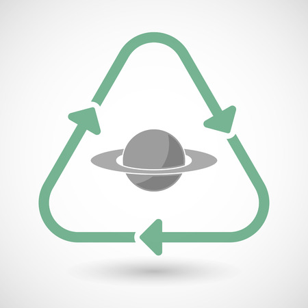 saturn rings: illustration of a line art recycle sign icon with the planet Saturn
