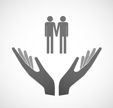 gay couple: Illustration of two hands offering a gay couple pictogram Illustration