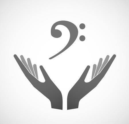 Ilustración de dos manos que ofrece una clave de F