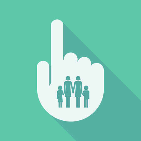 lesbian: Illustration of a long shadow pointing finger hand with a lesbian parents family pictogram Illustration