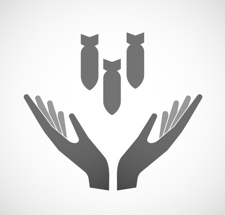 blank bomb: Illustration of two hands offering three bombs falling