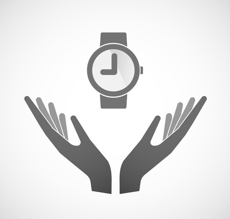 ease: Illustration of two hands offering a wrist watch