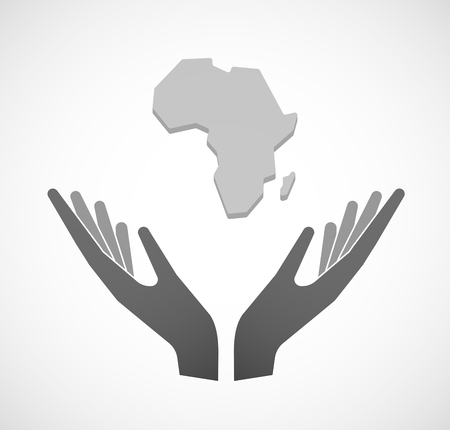sustain: Illustration of two hands offering a map of the african continent