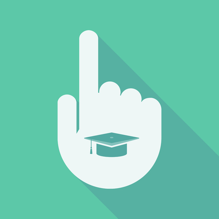 Illustration of a long shadow pointing finger hand with a graduation cap Illustration
