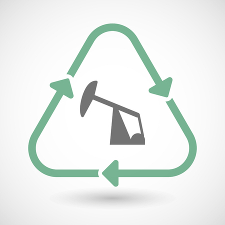 horsehead pump: illustration of a line art recycle sign icon with a horsehead pump