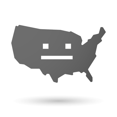 emotionless: illustration of an isolated USA map icon with a emotionless text face