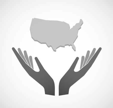 sustain: Illustration of two hands offering a map of the USA Illustration