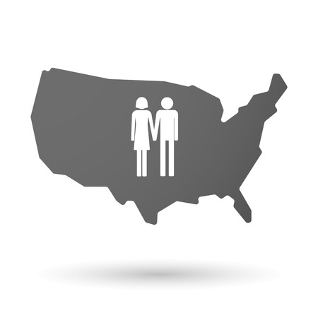 heterosexual couple: illustration of an isolated USA map icon with a heterosexual couple pictogram