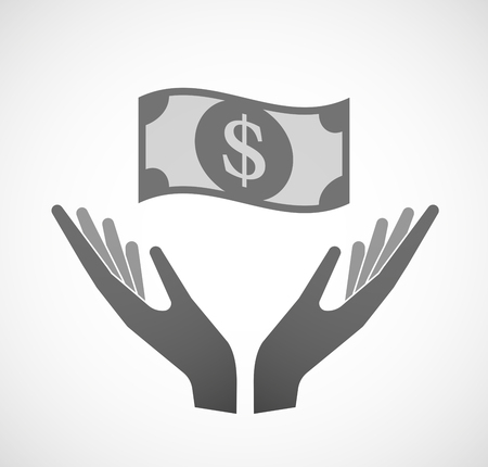 sustain: Illustration of two hands offering a dollar bank note