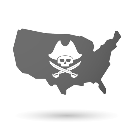 sabre: illustration of an isolated USA map icon with a pirate skull