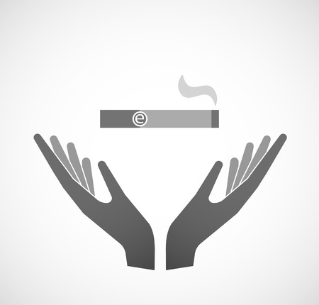 e cigarette: Illustration of two hands offering an electronic cigarette