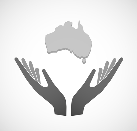 sustain: Illustration of two hands offering  a map of Australia Illustration