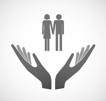 heterosexual: Illustration of two hands offering a heterosexual couple pictogram Illustration