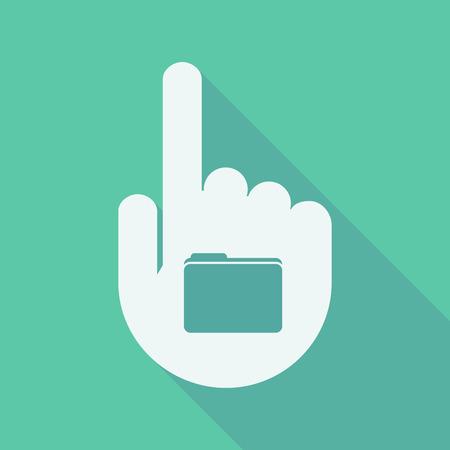 dedo: Ilustraci�n de un dedo de la mano larga sombra que se�ala con una carpeta Vectores