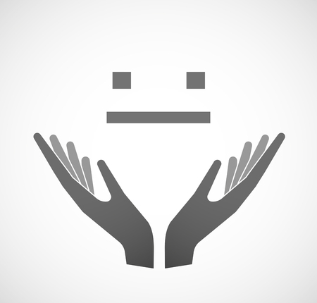 emotionless: Illustration of two hands offering a emotionless text face