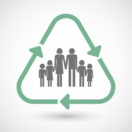 large family: illustration of a line art recycle sign icon with a large family pictogram Illustration