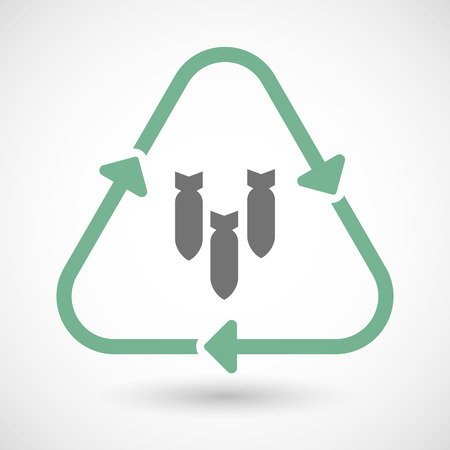 bombs: illustration of a line art recycle sign icon with three bombs falling Illustration