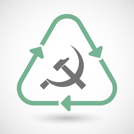 communist: illustration of a line art recycle sign icon with the communist symbol Illustration