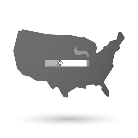 e cigarette: illustration of an isolated USA map icon with an electronic cigarette