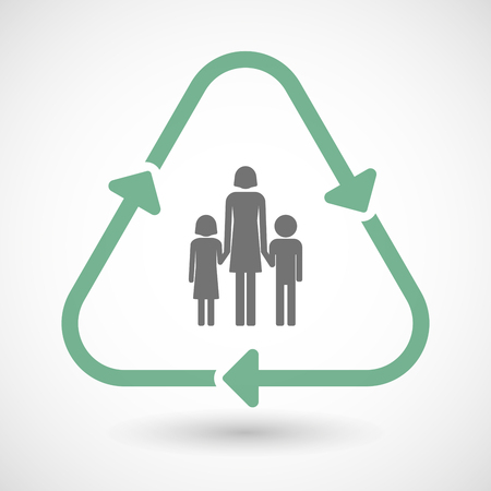 single family: illustration of a line art recycle sign icon with a female single parent family pictogram Illustration
