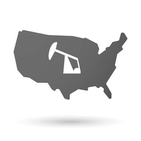 horsehead pump: illustration of an isolated USA map icon with a horsehead pump Illustration