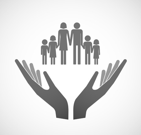 famiglia numerosa: Illustration of two hands offering a large family  pictogram