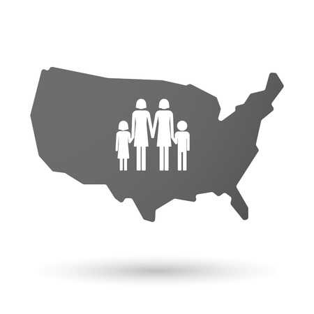 lesbian: illustration of an isolated USA map icon with a lesbian parents family pictogram