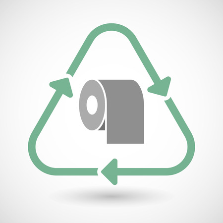 toilet paper art: illustration of a line art recycle sign icon with a toilet paper roll