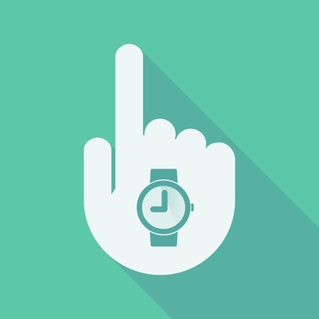 pointing hand: Illustration of a long shadow pointing finger hand with a wrist watch