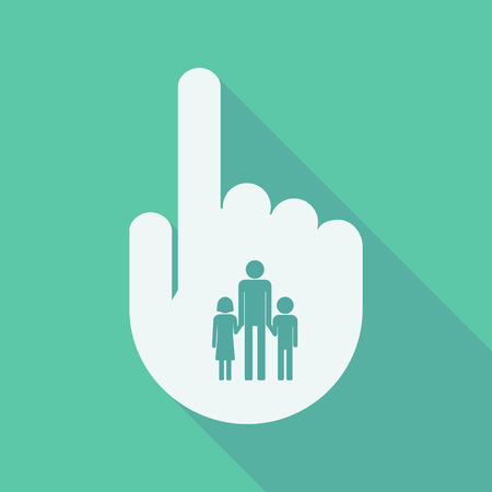 single parent: Illustration of a long shadow pointing finger hand with a male single parent family pictogram